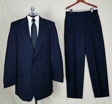 NINO CERRUTI Mens Dark Blue PURE WOOL 2 Button No Vent Twill Suit size 42 L