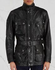 Belstaff Mens Trialmaster 'Panther' Black Leather 4 Pocket Jacket 52/42, L $1800