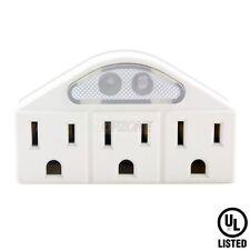 Topzone US plug wall tap to 3 Outlet sockets splitter converter w/ Sensor Light