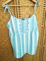 Mia Moda Summer Top Sz 18 Cotton Striped Ruched Tunic Shoulder Ties Holiday