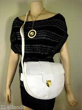 Vintage YSL Yves Saint Laurent White Grained Leather Saddle Shoulder Bag