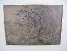 Handzeichnung England 19.Jh. Waldlandschaft mit Ruine - Bleistift & Farbstift