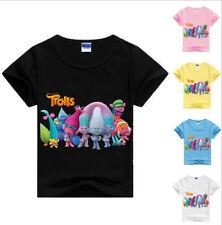 LOVELY TROLLS TODDLES KIDS GIRLS CARTOON SHORT SLEEVE T-SHIRT CHILDREN CLOTHES
