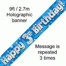 3RD BIRTHDAY BLUE HOLOGRAPHIC PARTY BANNER  2.7M (9FT) LONG REPEATS 3 TIMES