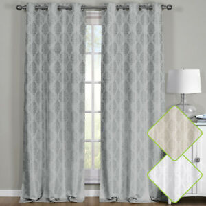 Paisley Thermal Blackout Curtain Panels Grommet Top Window Jacquard Curtain Pair