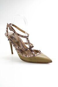 Valentino Womens Leather Rockstud Pointed Slingback Pumps Beige Size 40.5