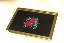Vintage COLIBRI Cigarette Case with Built In Lighter Smokes Brass and Roses