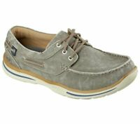 Boat Skechers Brown Shoe Men's Soft Canvas Memory Foam Comfort Casual Lace 64866