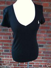 Ralph Lauren Feminine Black Cotton V-Neck T-Shirt Logo Size Medium M