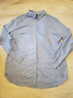 H&M Light Blue button up shirt Collared Career Blouse Women's sz  2 4 6 8 12 14