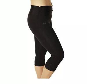 Under Armour Heat Gear Compression Capri Womens Sz L Black Stretch Workout Pants