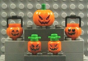 LEGO PUMPKIN JACK O' LANTERN ~ Orange Green Stem Head Bucket Minifig Halloween