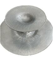 Vintage 2 Two Tier Hammered Aluminum Dessert Tray Tea Cake Cookie Server Leaf