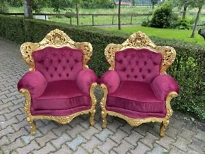 Antique Baroque Style Chairs Red with Gold Frame - a Pair
