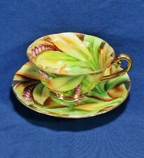 G.Z.I Occupied Japan China Purple Floral,Green Leaf Footed Teacup,Saucer Set VGC