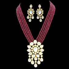 Kundan Long Necklace Set With Ruby Red Color Beads Indian Bollywood Jewellery