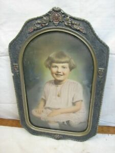 Antique Gesso Photo Bubble Dome Glass Frame Convex Picture Portrait Ornate Top