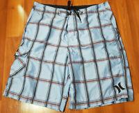 Mens HURLEY Blue Board/Swim SKATER Shorts Checks Size 34