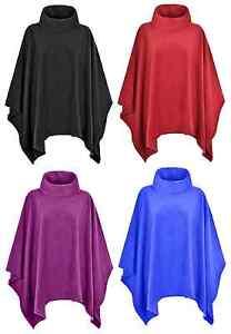 Ladies Women Warm Fleece Polo-Neck Ponchos/Capes Plus Size 14-32