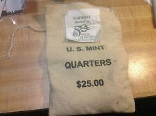 100 Coins $25 Face Value Us Mint Sewn Bag 2001-D Vermont State Quarters 100