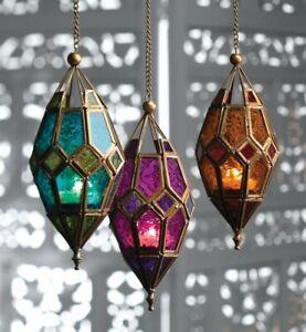Hanging glass lantern tea light holder Moroccan style 22.5cm NEW
