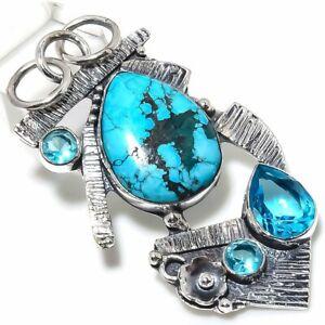 "Santa Rosa Turquoise,Blue Topaz Gemstone 925 Silver Jewelry Pendant 2.64"""