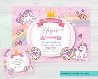 YOU PRINT - Unicorn Birthday Party Invitations + FREE Thank You Card Favour Tags