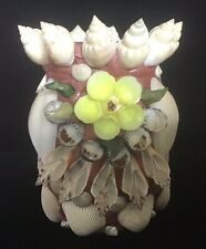 New listing Vintage Seashell Encrusted Vase Tramp Art Intricate Excellent Condition