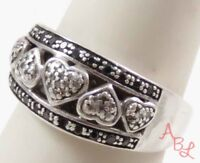 Sterling Silver 925 Love & Hearts Cocktail Black & Clear Diamond Ring Sz 7 3.9g