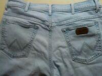 Mens Wrangler Straight Leg Light Blue Jeans W 36'' Extra Extra Short Leg 26.5''