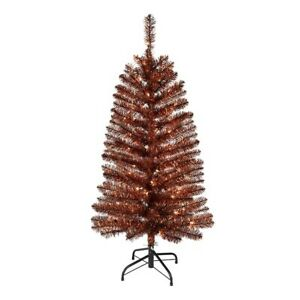 Halloween Black and Orange 4 Foot  Christmas Tinsel Tree 50 Clear Lights New