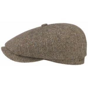 Stetson Hats Hatteras Woolrich Bakerboy Cap - Mixed Brown Herringbone