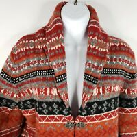 Susan Bristol Womens Sweater M Nordic Fair Isle Cardigan Wool Red Orange Gray