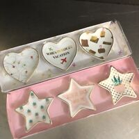 Trinket Dishes NIP Two Sets Hearts Travel Stars Cactus China Gold Trim Favors
