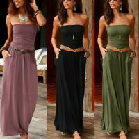 Womens Ladies Bandeau Holiday Off Shoulder Summer Evening Party Maxi Long Dress