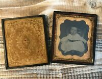 Antique Postmortem Tintype Child Toddler Posed In Chair In Leather/Brass Case
