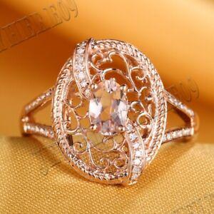Solid 10k Rose Gold Fine Jewelry Morganite Natural Diamonds Wedding Ring Jewelry