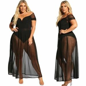 Sexy Women's Plus Size Black Dress Bodysuit With Sheer Mesh Allure Lingerie