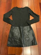Theory Gray Longsleeve Dress With Black Leather Skirt SiZe 2