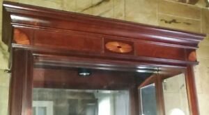 Howard Miller 680-155 Traditional Cherry Lighted Wood Curio Display Cabinet