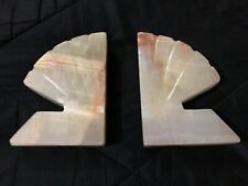 Vintage Solid Onyx Shell Shapes Book Ends