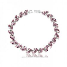 GORGEOUS 18K WHITE GOLD PLATED & GENUINE PINK CUBIC ZIRCONIA TENNIS  BRACELET