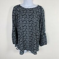 LOFT Womens Top Sz L Navy Blue Paisley Peasant Sleeves Blouse Round Neck Q94