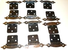 6 Pairs  Hammered Copper Colonial Cabinet Flat Door Hinges No Screws