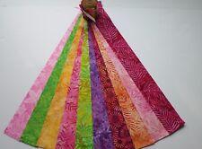 "Indonesia Bali Batik Prints Jelly Roll Cotton Fabric 10 pieces - 2-1/2"" Strips"