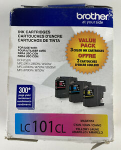 Brother LC101CL Color Ink Cartridges OEM Genuine Factory Exp: 01/2022