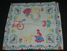 Vintage 40s Hankie Handkerchief Square Red Yellow Bicycle Girl Bonnet Dog 11