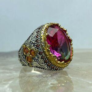 Turkish Handmade 925 Sterling Silver Jewelry Watermelon Tourmaline Men's Ring