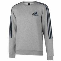 adidas Mens 3 Stripe Sweatshirt Pullover Casual Long Sleeve Crew Neck Top