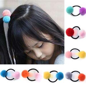 Doppel Pompon Elastisch Gummiband Kinder Haar Accessoires Krawatten Seil Ring